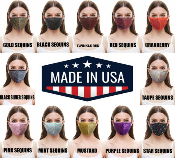 Fashion Face Mask with Filter Pocket(SequinsFoilBandana)Adult&Kids MADE in USA $8.99