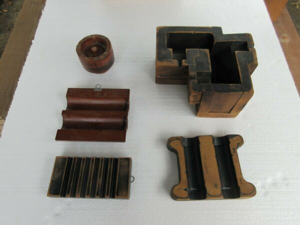 VINTAGE WOOD FORMS CAST FOUNDRY INDUSTRIAL STEAMPUNK MOLDS FACTORY PRIMITIVE
