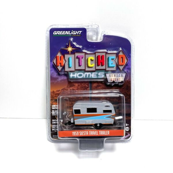 Greenlight 1:64 Hitched Homes Series 8 1959 Siesta Travel Trailer IN STOCK $7.67