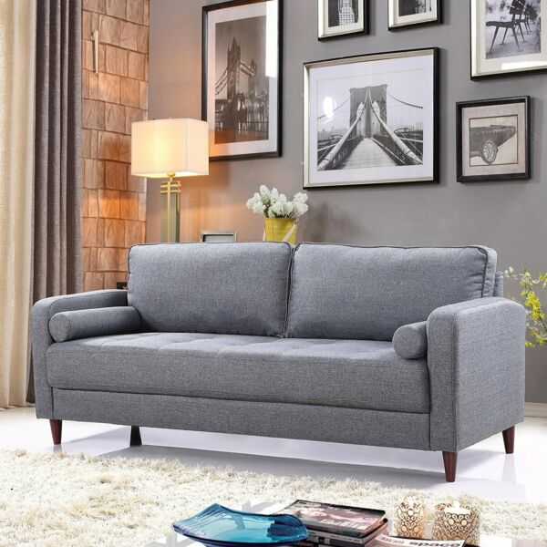 Mid Century Modern Linen Fabric Living Room Sofa (Grey) $299.99