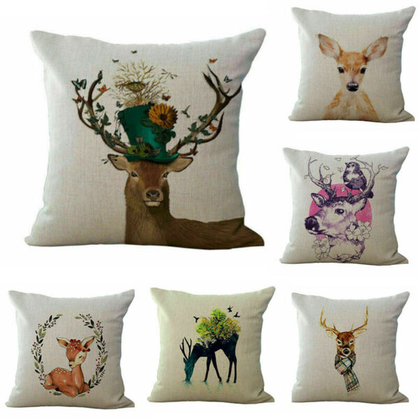 Elk Deer Cotton Linen Cover Sofa Waist Home Decor Pillow Case Home Decor Cushion $3.16