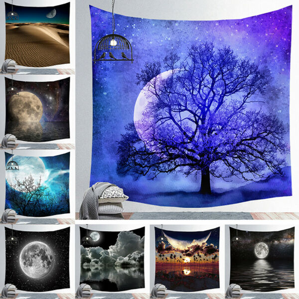 Psychedelic Moon Wall Hanging Beach Towel Art Tapestry Throw Dorm Home Decor USA
