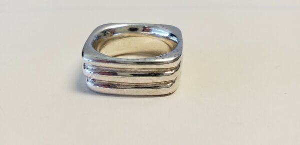 Vintage Sterling Silver Square Band Grooved Ring $25.99