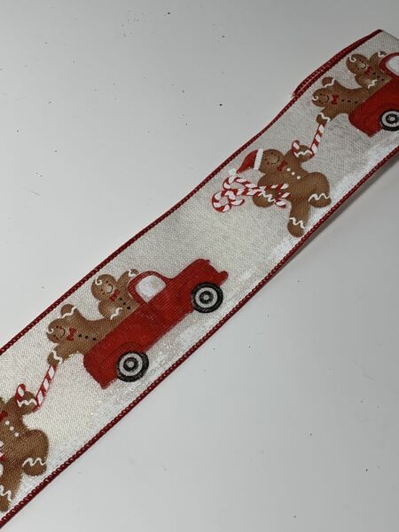 """10 Yds Of 21 2"""" Wired Christmas Gingerbread In Red Truck Faux Burlap Ribbon"""