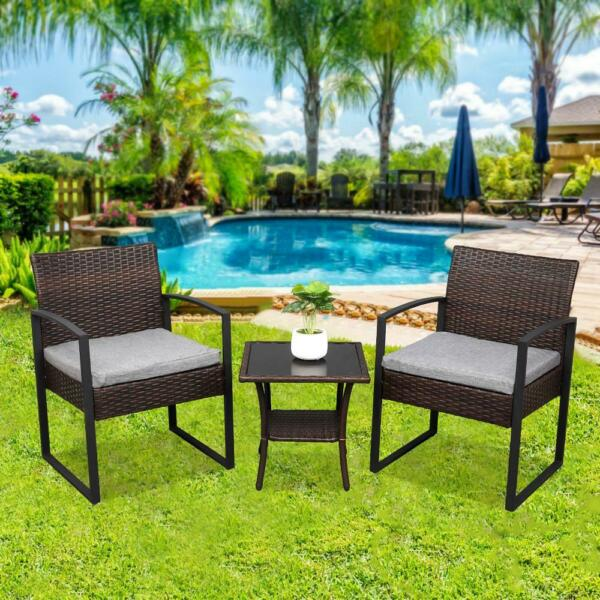 3 PCs Outdoor Patio Balcony Furniture Sofa Set Rattan Coffee Table Cushions $105.99