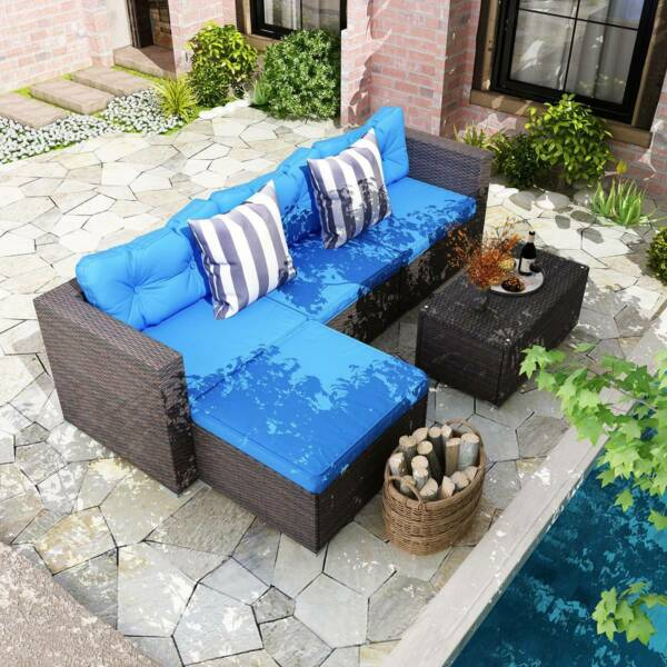 YITAHOME 5Pcs Rattan Wicker Sofa Cushioned Couch Outdoor Furniture Sectional Set $446.99