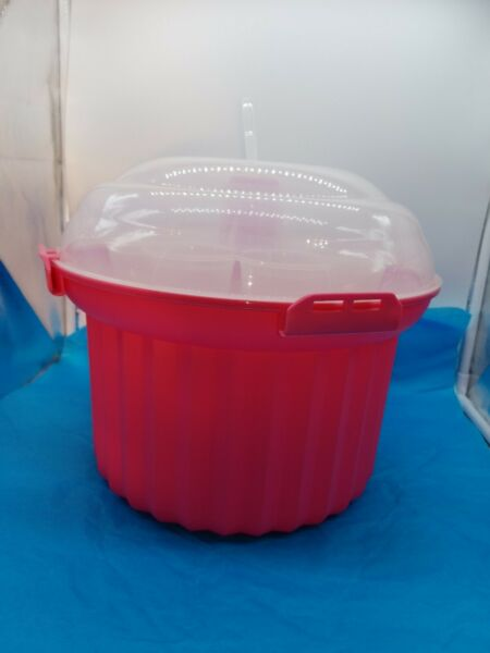 Baking Cupcake Carrier Large Pink Cupcake Shape Clear Dome Lid Holds 24 Cupcakes