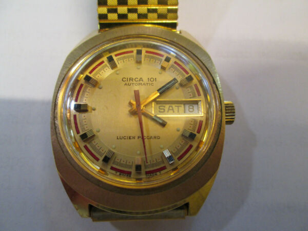 Vintage Mens Lucien Piccard Circa 101 Automatic Wrist Watch Gently Used  $129.95