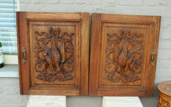 PAIR black forest wood carved hunting cabinet door panels trophy