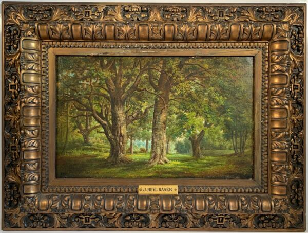 John Heyl Raser 1824 1901 Signed Oil Painting quot;In The Catskillsquot; c1884 w Prov