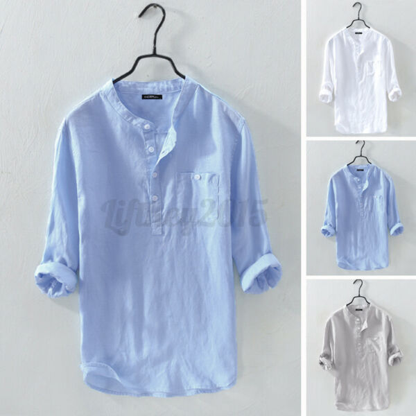 Men#x27;s 3 4Sleeve Cotton Linen Henley Blouse V Neck Loose Casual Tops T Shirts Tee