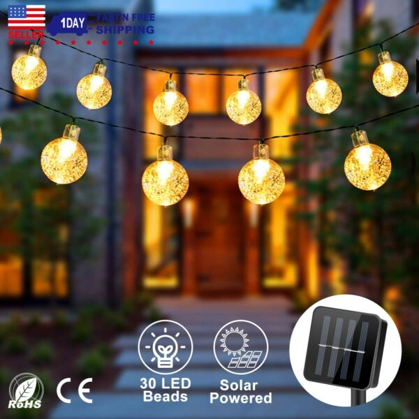 Solar String Lights Outdoor Decorative Lights Waterproof 30 LED Garden 20ft