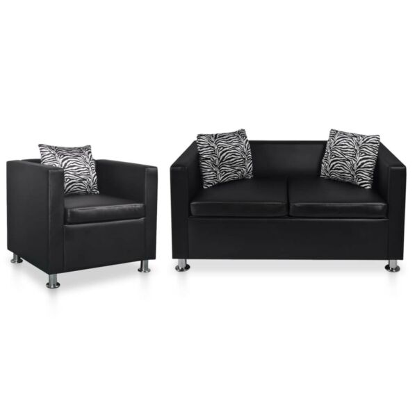 vidaXL Sofa Set Armchair and 2 Seater Black Faux Leather Couch Chaise Lounge $403.99