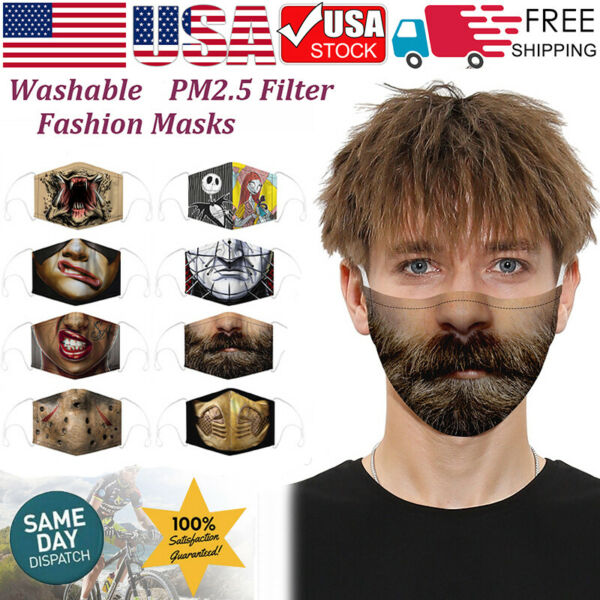 3D Funny Style Face Mask Mouth Cover Washable Reusable Mask w Filters Halloween