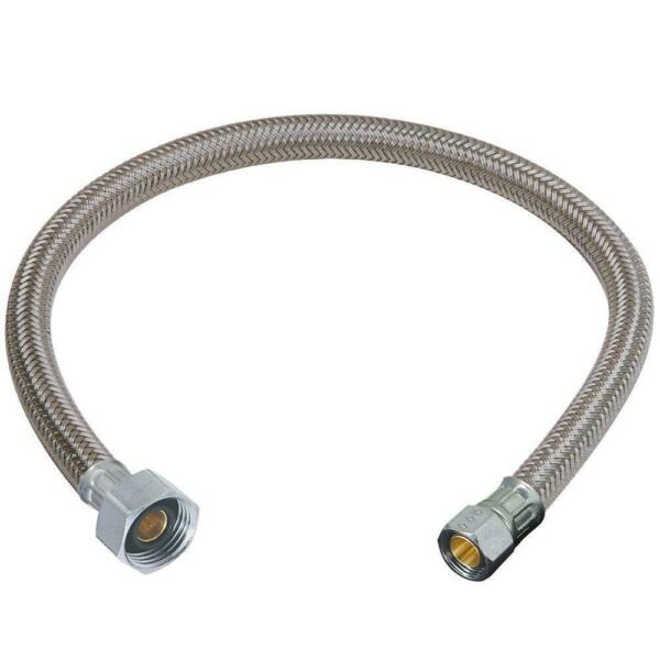 3 x Flexible Faucet Hose Stainless Braided Sink Water Supply 16 in 1 2x3 8