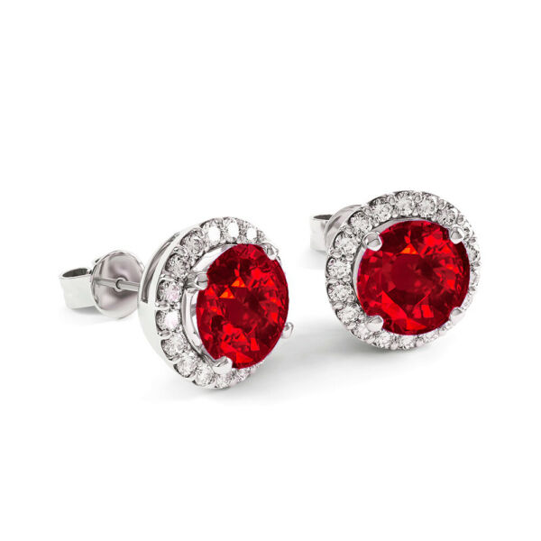 Natural RED and White Topaz Halo Stud Earrings 925 Stamped Sterling Silver $9.99