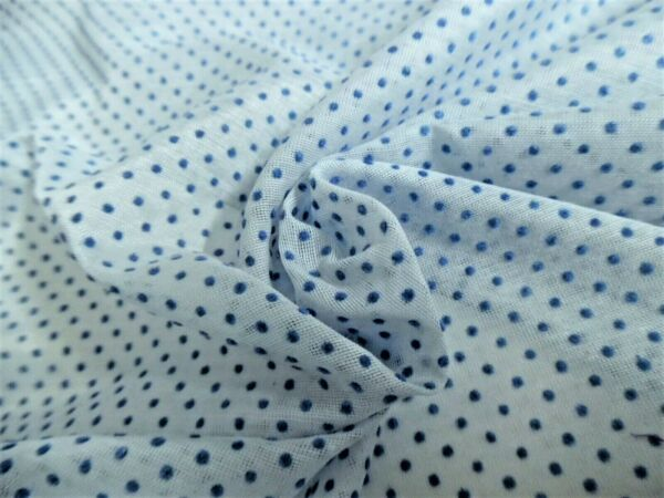 VINTAGE FLOCKED DOTTED SWISS VOILE~BLUE DOTS ON BLUE~9