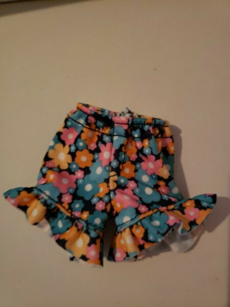 BARBIE DOLL PAIR OF BLUE FLORAL SHORTS FITS CURVY DOLLS TOO