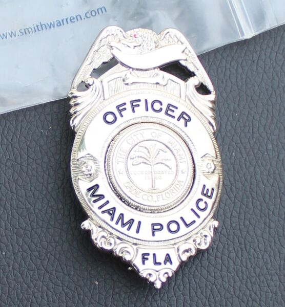 Silver Reproduced Miami Badge made by Smith and Warren