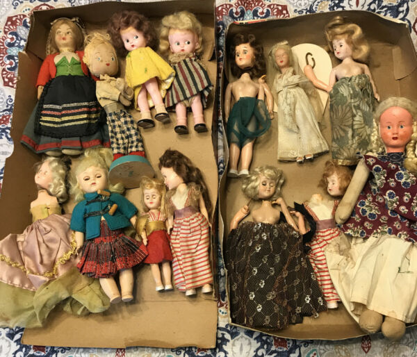 Vintage Mixed Lot 14 Dolls - Vogue Ginny Moving  Eyes Cupie ++ Poland Italy