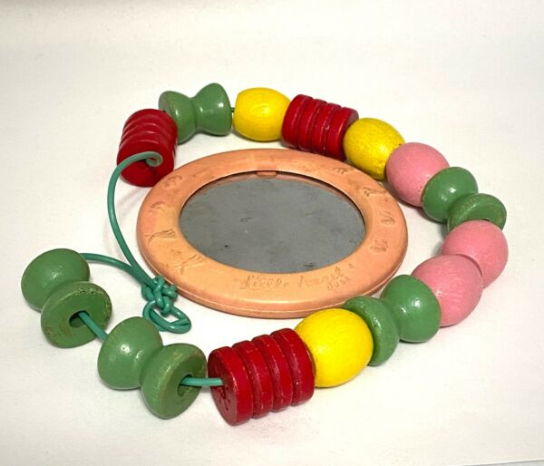 Mid-Century Wooden Baby Teething Beads and Little Angel Mirrored Teether