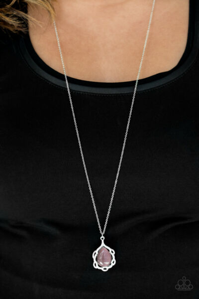Keep it On the Down Glow Purple Moonstone Long Necklace Paparazzi