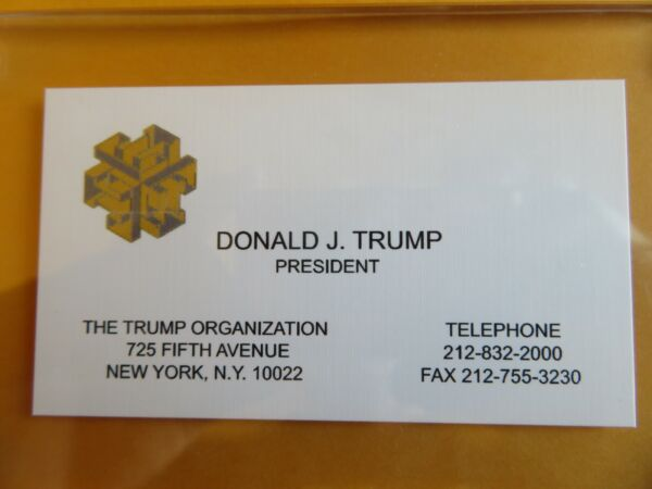DONALD TRUMP Business Card from his Company THE TRUMP ORGANIZATION Acrylic Case $17.95