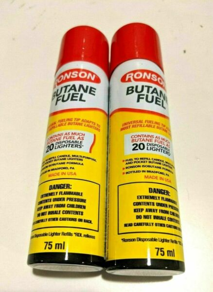 2 Ronson Butane 75ml 2.54 fl oz Refill Fuel Gas for Lighters Torch $9.99