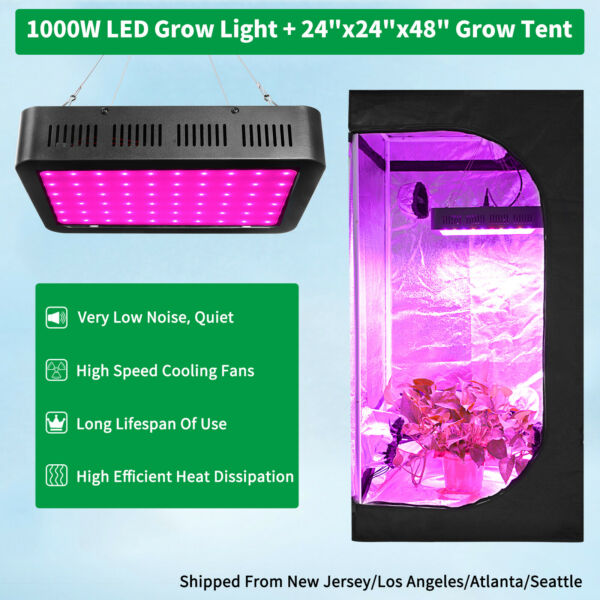 1000W Led Grow Light Kit Full Spectrum 2#x27; x 2#x27; Hydroponic Indoor Grow Tent Kit
