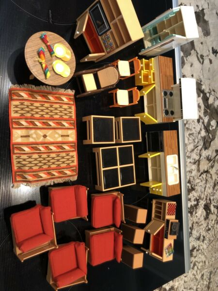 Vintage 1970's TOMY Smaller Homes Doll House Furniture Lot - Excellent