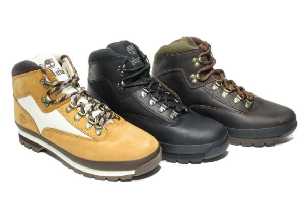 Timberland Men#x27;s Euro Hiker Leather Boots Wheat Brown Black Hiking 6528A 6529A $109.95