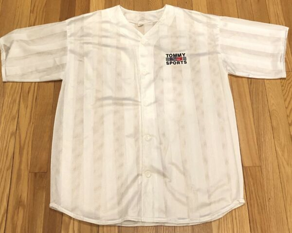 TOMMY SPORTS 90s VTG Bootleg Mesh Button Up Jersey Embroidered HIP HOP sz Large $34.99