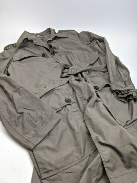 Burberry Green Poly Water Resistant Trench Coat Overcoat Sz M $119.99