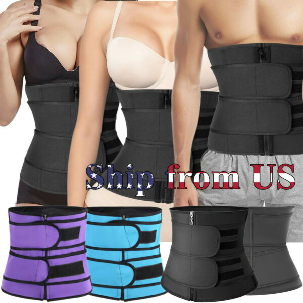 Women amp; Men Waist Trainer Body Shaper Slimmer Sweat Belt Tummy Control Band US
