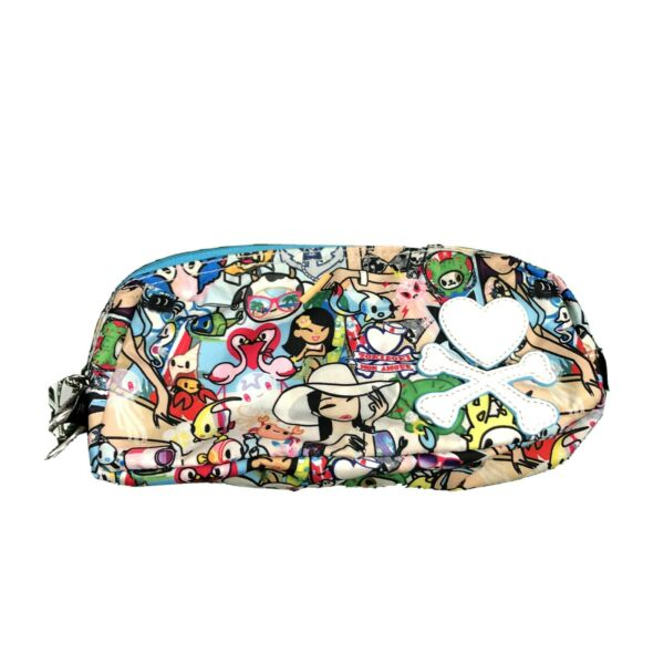 TokiDoki Cosmetic Bathroom Small Bag Cartoon Travel Zippered Tote Heart Bones $25.00