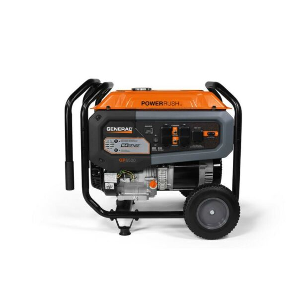 Generac GP6500 Power Rush Generator Portable Gasoline Powered CO Sense 50 CSA