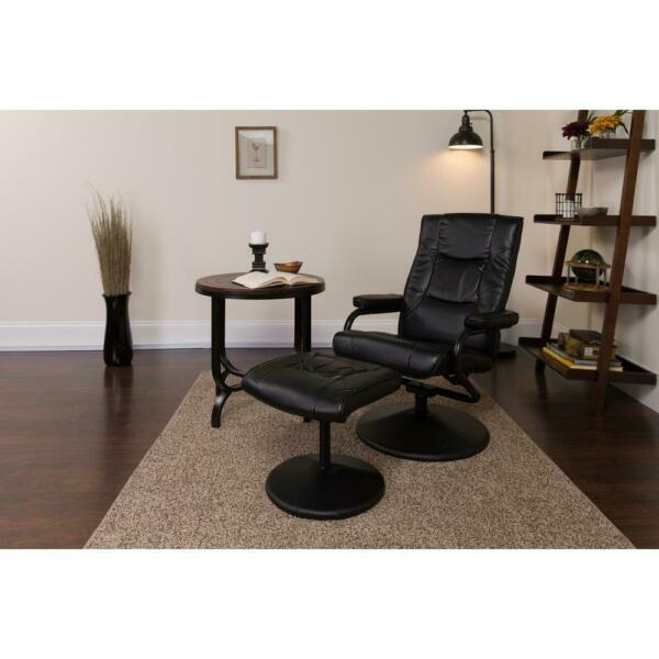 Flash Furniture Recliner High Back Ottoman Leather Wrap Base Swivel Seat Black $179.16