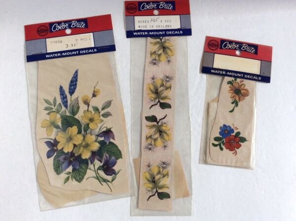 Vintage Lot Of Color Brite Water Mount Slide DECAL Stickers Flowers England $8.99
