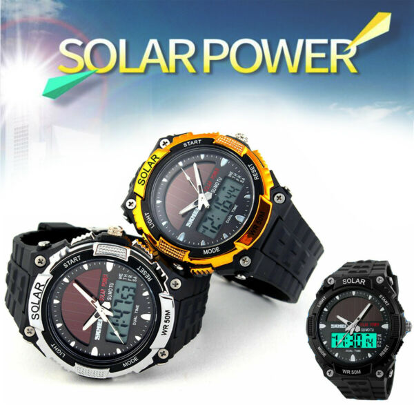 Men#x27;s Military Waterproof Solar Power Sport Analog Digital Quartz Wrist Watch
