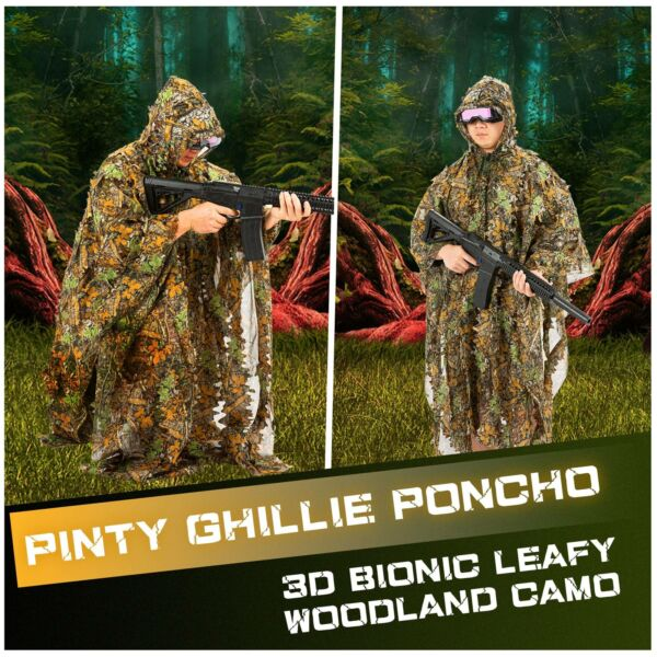 Leafy Ghillie Suit Longleaf Camouflage Poncho for Men Women Tactical Gear Snaps
