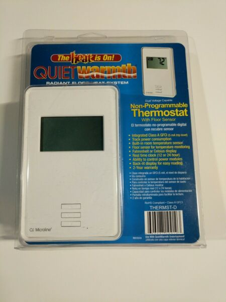 QUIET WARMTH Non Programmable Digital Radiant Heat Thermostat w Floor Sensor $69.95