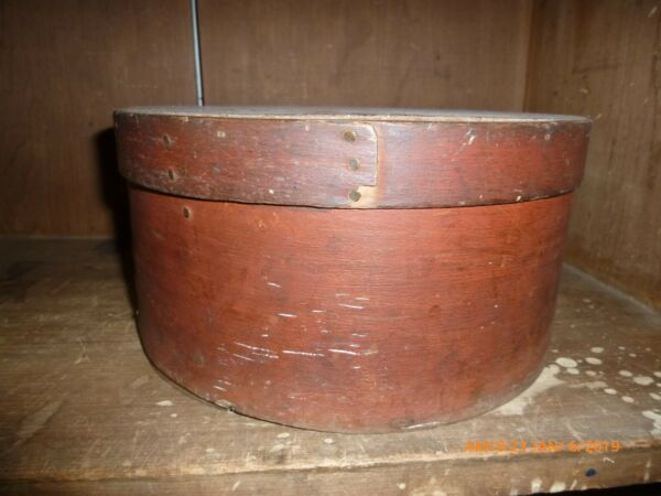 Antique Primitive Early Red Painted Pantry Box aafa