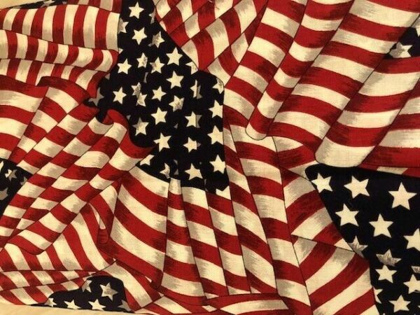 Antiqued AMERICAN FLAG Cotton Fabric Waving Flag DIY Masks 4th of July 60quot; WIDE