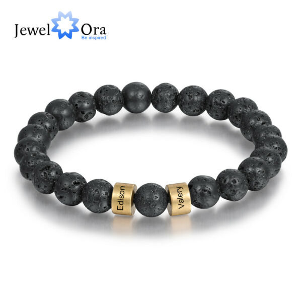 Personalized Stone Beads Charms Bracelet Custom Name Bangle Gift For Men Women $9.59