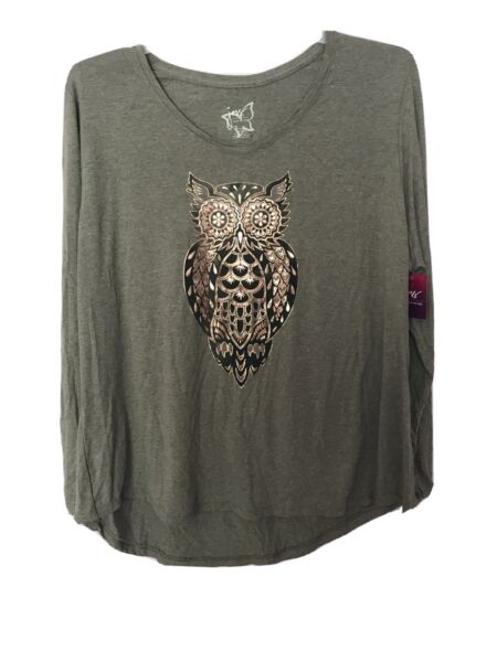 Women#x27;s Plus Long Sleeve Shirt by JMS Size 3X Green Tee with Owl NWT
