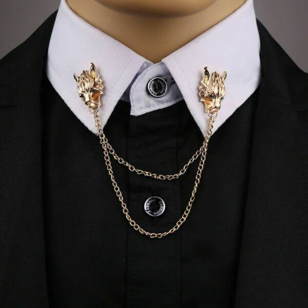 Stunning Gold Plated Vintage Look Retro Wolf Collar Chain Brooch Lapel Pin Z29 GBP 11.99