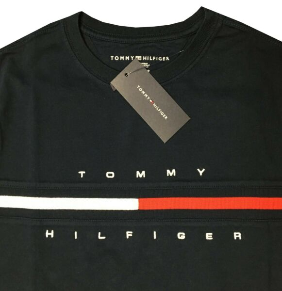 Tommy Men#x27;s NWT 100% Cotton Stripe Chest COR BLACK T Shirt XS Free Shipping $22.99