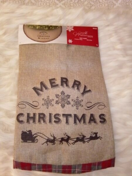 Christmas Tree BURLAP SKIRT 48 in Jaclyn Smith quot;Merry Christmasquot; Gold Interior