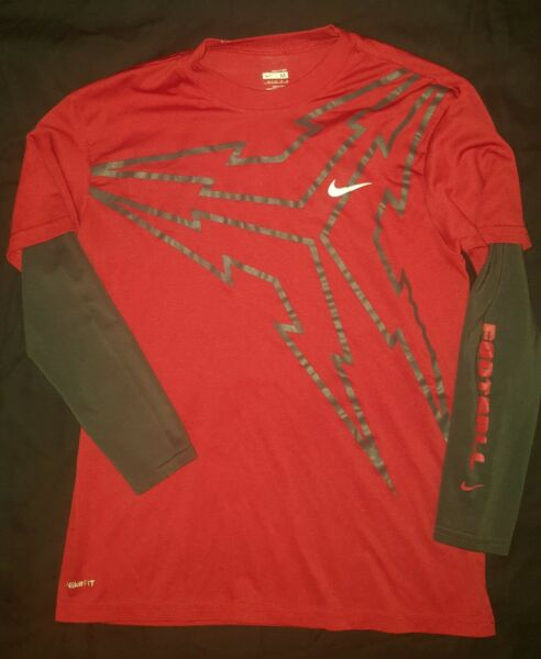 Nike Fit Red Dri Fit Long Sleeve T shirt Youth MEDIUM Football on the sleeve