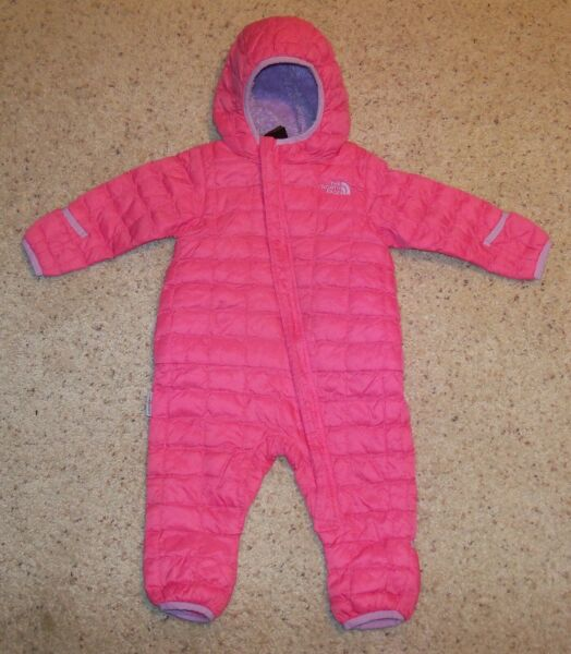 Pink North Face Bunting Infant Snow Suit Fleece 6 12 Mo. Thermoball Primaloft